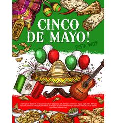 Fiesta party cinco de mayo mexican cuisine dishes vector