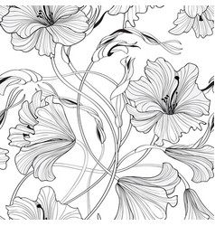 Floral seamless pattern flower lily bouquet vector