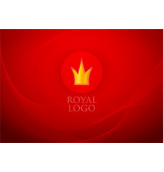 Folded red royal silk and label with crown on vector