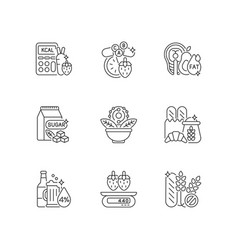 Foodstuff for nourishment linear icons set vector