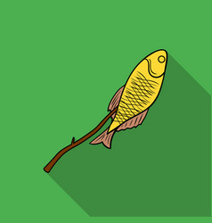 fried fish icon in flat style isolated on white vector image