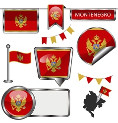 Glossy icons with Montenegrin flag vector