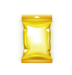 Golden foil blank paper pillow bag isolated on vector