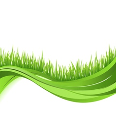 Green grass nature wave background vector image