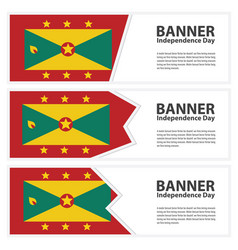 Grenada flag banners collection independence day vector