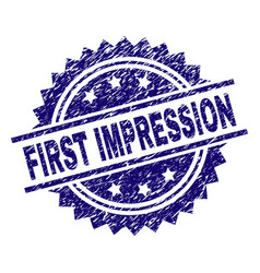 Grunge textured first impression stamp seal vector