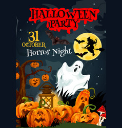 Halloween ghost poster for horror party design vector