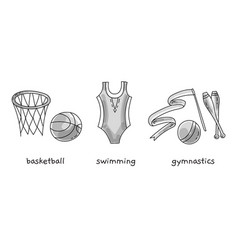 hand drawn sport attribute on white vector image