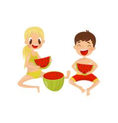 happy children eating sweet watermelon kids vector image