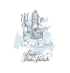 Happy maha shivratri black line art greeting card vector