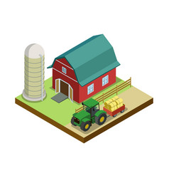 Hay making in storage isometric 3d element vector