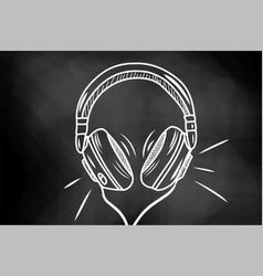 headphones sketch hand drawing music bit vector image