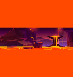 Hell landscape infernal hot volcano cave with lava vector