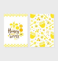 Honey natural products card organic honey and vector