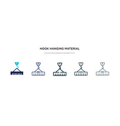 Hook hanging material icon in different style vector