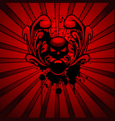 horror emblem with ornament and dirty spray vector image