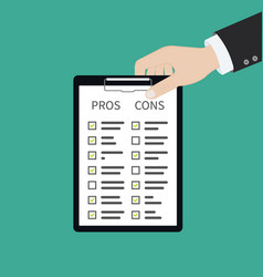 In hand pros cons concept on decision making vector