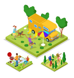 Isometric outdoor activity camping and barbeque vector