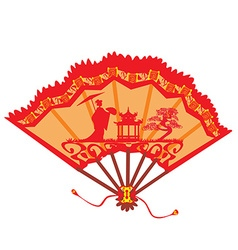 Landscape with Geisha on a beautiful fan vector