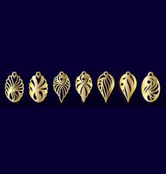 laser cut pendants or earrings templates set vector image
