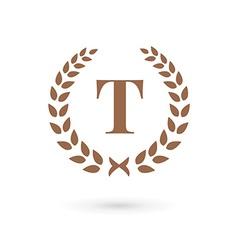 Letter T laurel wreath logo icon design template vector image