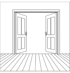 Line Open Doors vector image