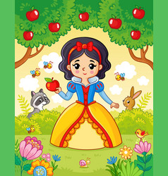 little cute beautiful princess stands vector image