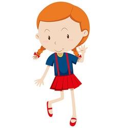 Little girl wearing red skirt vector image