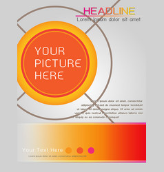 Magazine cover template design in orange theme vector
