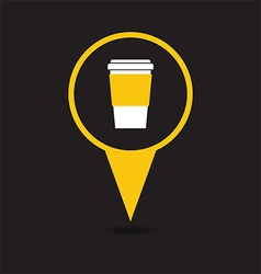 Map pointer with coffee cup icon vector image