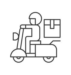 Messenger sending parcel box motorbike line vector