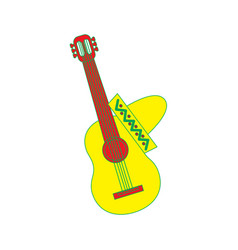 Mexican guitar and hat traditional instrument vector