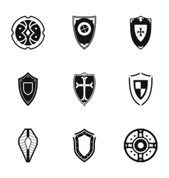 Military shieldd icons set simple style vector