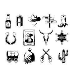 monochrome black theme wild west vector image