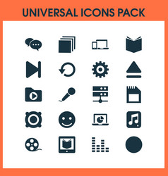 Music icons set with datacenter smile gear and vector