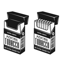Pack cigarettes two style full and empty vector