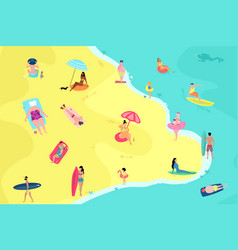 people having fun on beach summer vacation vector image