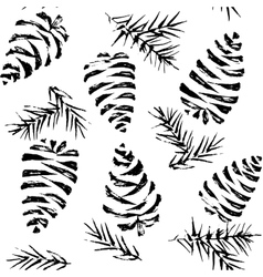 Pine cones seamless pattern Christmas gift vector