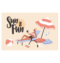 postcard template with woman lying on sunlounger vector image