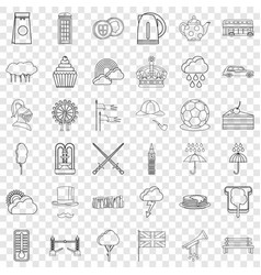 Pound icons set outline style vector