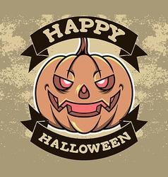 Pumpkin Head Halloween Badge vector image