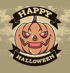 Pumpkin head halloween badge vector