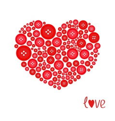 Red heart made from buttons Love card Flat design vector image