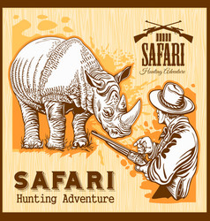 Rhino hunting - banner with african safari animal vector