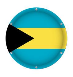 round metallic flag of bahamas with screws vector image