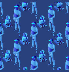seamless pattern of modern glowing ai robots vector image