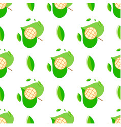 seamless pattern with green plant and globe symbol vector image