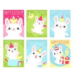 set birthday banners with cute rabbit and vector image