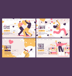 Set concept landing page with people vector