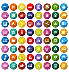 Shopping flat colored icons set vector